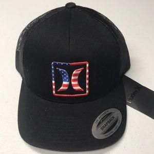 🆕 HURLEY USA LOGO Black Mesh Back Baseball Hat